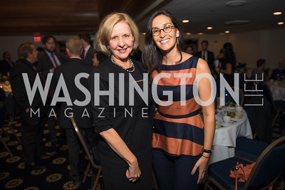 Sharon Leininger Nemeroff, Joanna Lattaire.  Photo by Alfredo Flores.  2017 National Dialogue Awards. National Press Club. November 16, 2017.