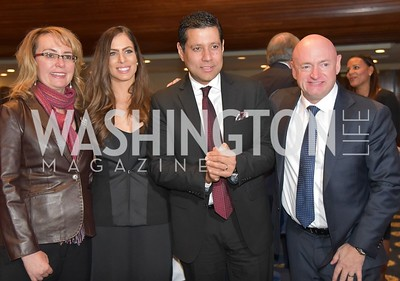 Gabrielle Giffords,  Tara Compton Parsan, Ambassador Neil Parsan, Captain Mark Kelly.    Photo by Jane Pennewell.  2017 National Dialogue Awards. National Press Club. November 16, 2017.