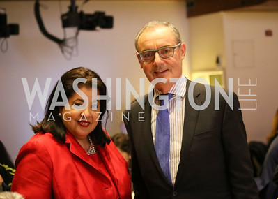 Allyson McKithen, Amb David O'Sullivan. Photo by Patricia McDougall.  2017 National Dialogue Awards. National Press Club. November 16, 2017