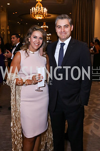 Maria Cardona, Jim Acosta. Photo by Tony Powell. 2017 Noche de Gala. Mayflower Hotel. September 11, 2017