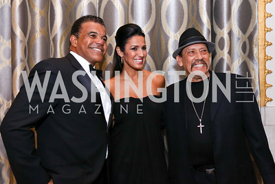 Jerry and Kenya Pierce, Danny Trejo. Photo by Tony Powell. 2017 Noche de Gala. Mayflower Hotel. September 11, 2017