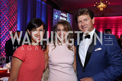 FCC Commissioner Jessica Rosenworcel, Maria Cardona, Lyndon Boozer. Photo by Tony Powell. 2017 Noche de Gala. Mayflower Hotel. September 11, 2017