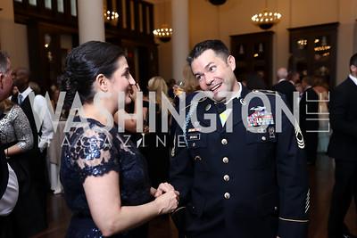Tammy Darvish, Master Sgt. Jake Brooks. Photo by Tony Powell. 2017 PenFed Night of Heroes Gala. Trump Hotel. May 4, 2017