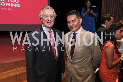 Peru Amb. Carlos Pareja, Xavier Equihua. Photo by Tony Powell. 196th Anniversary of the Independence of Peru. NMAI. July 27, 2017
