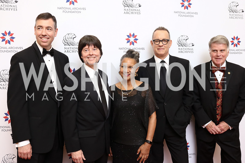 Patrick Madden, Ken Burns, Board Chair A'Lelia Bundles, Tom Hanks, Archivist David Ferriero. Photo by Tony Powell. 2017 Records of Achievement Gala. Archives. October 21, 2017