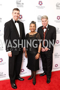 Patrick Madden, Board Chair A'Lelia Bundles, Archivist David Ferriero. Photo by Tony Powell. 2017 Records of Achievement Gala. Archives. October 21, 2017