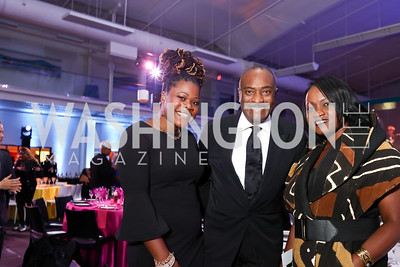 "Melissa Barrington, Reginald Van Lee, Dana Warner. Photo by Tony Powell. 2017 ""Tennis Shoes, Ties and After Five"" Gala. SE Tennis & Learning Center. October 27, 2017"