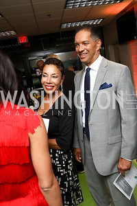 "Amy Goldson, Reggie Johnson. Photo by Tony Powell. 2017 ""Tennis Shoes, Ties and After Five"" Gala. SE Tennis & Learning Center. October 27, 2017"