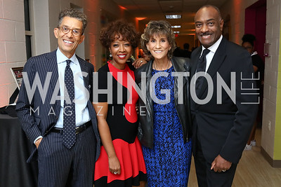 "Gene and Gina Adams, Leigh Adams, Reginald Van Lee. Photo by Tony Powell. 2017 ""Tennis Shoes, Ties and After Five"" Gala. SE Tennis & Learning Center. October 27, 2017"
