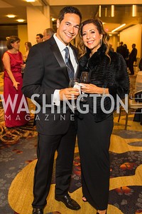 Sina Farzin, Nina Farzin. Photo by Alfredo Flores. 2017 Spanish Catholic Center Gala. Washington Marriott Marquis. September 30, 2017