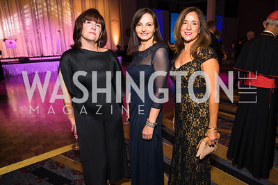 Gabriela Smith, Grace Huebscher, Sandy DeCain, . Photo by Alfredo Flores. 2017 Spanish Catholic Center Gala. Washington Marriott Marquis. September 30, 2017