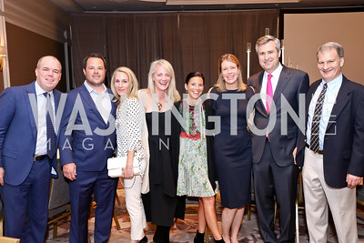 Michael Stanton, Michael Wood, Brooke Stanton, Rachel Sheridan, Jennifer Wood, Laura Griffen, Paul Sheridan, Rob Griffen. Photo by Tony Powell. 2017 Teach for America Gala. Ritz Carlton. February 21, 2017