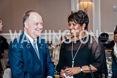 Jack DeGioia, Monica Thompson. Photo by Tony Powell. 2017 Teach for America Gala. Ritz Carlton. February 21, 2017