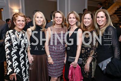 Jane Korhonen, Marianne Powell, April Delaney, Susie Canton, Lee Satterfield, Lori Kusch. Photo by Tony Powell. 2017 Teach for America Gala. Ritz Carlton. February 21, 2017