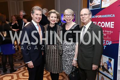 Jeff and Christie Weiss, Barbara Krumsiek, Bart Leonard. Photo by Tony Powell. 2017 Teach for America Gala. Ritz Carlton. February 21, 2017