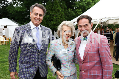 James Figetakis, Bobbie Brewster, Christian Zapatka. Photo by Tony Powell. 2017 Tudor Place Garden Party. May 24, 2017