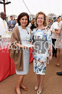 Gouri Mirpuri, Ireland Amb. Anne Anderson. Photo by Tony Powell. 2017 Tudor Place Garden Party. May 24, 2017