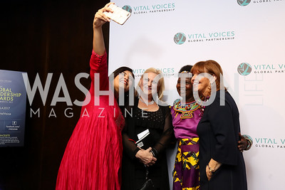 Elsa D'Silva, Rachel O'Neill, Leadership in Public Life Award Honoree Malawi Chief Theresa Kachindamoto, Susan Davis. Photo by Tony Powell. Vital Voices 2017 Global Leadership Awards. Kennedy Center. March 8, 2017