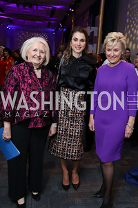 Melanne Verveer, Global Trailblazer Award Honoree Her Majesty Queen Rania Al Abdullah of Jordan, Tina Brown. Photo by Tony Powell. Vital Voices 2017 Global Leadership Awards. Kennedy Center. March 8, 2017