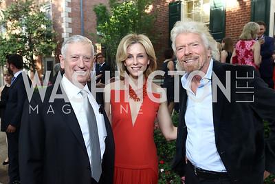 Gen. James Mattis, Katherine Bradley, Sir Richard Branson. Photo by Tony Powell. 2017 WHCD Bradley Welcome Dinner. April 28, 2017