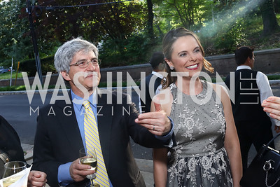 Michael Isikoff, Robyn Bash. Photo by Tony Powell. 2017 WHCD Bradley Welcome Dinner. April 28, 2017
