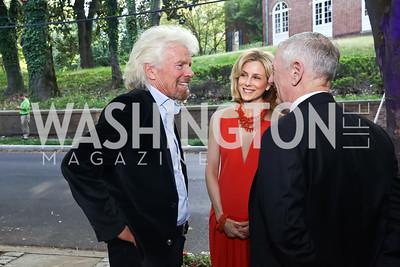 Sir Richard Branson, Katherine Bradley, Gen. James Mattis. Photo by Tony Powell. 2017 WHCD Bradley Welcome Dinner. April 28, 2017