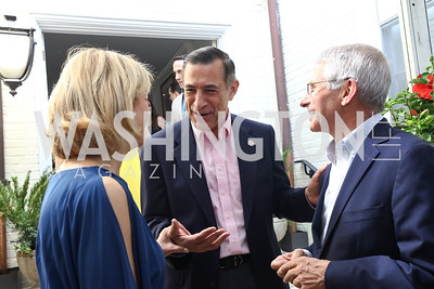 Hilary Rosen, Rep. Darrell Issa, Dr. Anthony Fauci. Photo by Tony Powell. 2017 WHCD Garden Brunch. April 29, 2017