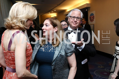 Katherine Bradley, Amy Nathan and Howard Fineman. Photo by Tony Powell. 2017 WHCD Pre-parties. Hilton Hotel. April 29, 2017