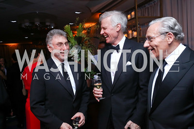 Marty Baron, Fred Ryan, Bob Woodward. Photo by Tony Powell. 2017 WHCD Pre-parties. Hilton Hotel. April 29, 2017