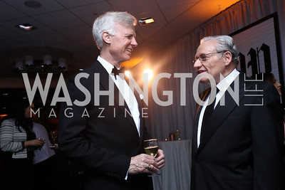 Fred Ryan, Bob Woodward. Photo by Tony Powell. 2017 WHCD Pre-parties. Hilton Hotel. April 29, 2017