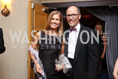 Ann Marie Staudenmaier and DNC Chair Tom Perez. Photo by Tony Powell. 2017 WHCD Pre-parties. Hilton Hotel. April 29, 2017