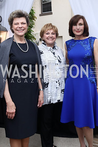 Cokie Roberts, Leslie Milk, Monaco Amb. Maguy Maccario Doyle. Photo by Tony Powell. WHCD Women in Journalism. Dittus Residence. April 27, 2017