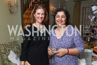 Emily Lenzner, Madhulika Sikka. Photo by Tony Powell. WHCD Women in Journalism. Dittus Residence. April 27, 2017