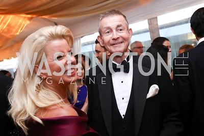 Rita Cosby, Bill Plante. Photo by Tony Powell. 2017 WHCD Pre-parties. Hilton Hotel. April 29, 2017