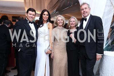 Bret Baier, Amy Baier, Sally Quinn, Vanessa Darroch and British Amb. Kim Darroch. Photo by Tony Powell. 2017 WHCD Pre-parties. Hilton Hotel. April 29, 2017