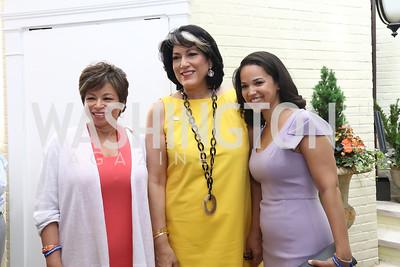 Valerie Jarrett, Tammy Haddad, Laura Jarrett. Photo by Tony Powell. 2017 WHCD Garden Brunch. April 29, 2017