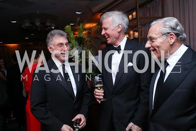 Marty Baron, Fred Ryan, Bob Woodward. Photo by Tony Powell. 2017 WHCD Pre-parties. Hilton Hotel. April 29, 2017