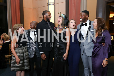 "Nicole Halbreiner, Frederick Ballantine, Norman Garrett, Anne Kline Pohanka, Madison Leonard, Soloman Howard, Denise Leonard. Photo by Tony Powell. 2017 WNO ""Aida"" Opening Night Dinner. Kennedy Center. September 10, 2017"