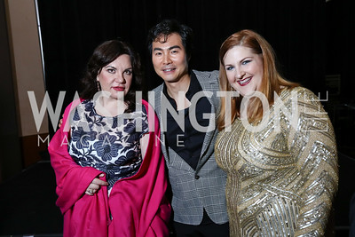 """Amneris"" Ekaterina Semenchuk, ""Radames"" Yonghoon Lee, ""Aida"" Tamara Wilson. Photo by Tony Powell. 2017 WNO ""Aida"" Opening Night Dinner. Kennedy Center. September 10, 2017"