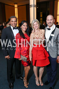 """Reggie Aggarwal and Dharini Aggerwal, Susi and Eric Larsen. Photo by Tony Powell. 2017 WNO """"Aida"""" Opening Night Dinner. Kennedy Center. September 10, 2017"""