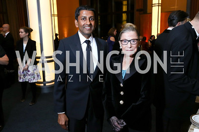 "Judge Sri Srinivasan, Justice Ruth Bader Ginsburg. Photo by Tony Powell. 2017 WNO ""Aida"" Opening Night Dinner. Kennedy Center. September 10, 2017"