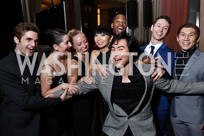 "Milan Misko, Eve Jacobs, Rachel Secrest, Kana Kimura, Thomas Ragland, ""Radames"" Yonghoon Lee, John Harnage, Patrick Coker. Photo by Tony Powell. 2017 WNO ""Aida"" Opening Night Dinner. Kennedy Center. September 10, 2017"