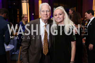 Librarian of Congress Emeritus James Billington and granddaughter Sarah Harper. Photo by Tony Powell. 2017 WNO Season Opener. Kennedy Center. May 6, 2017