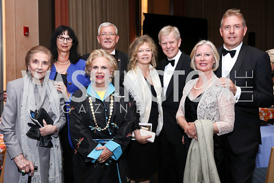 Wilhelmina Holladay, Anita Dahinden, Jacqueline Badger Mars, Switzerland Amb. Martin Dahinden, Madeleine Lyrvall and Sweden Amb. Bjorn Lyrvall, Lady Darroch and Britain Amb. Sir Kim Darroch. Photo by Tony Powell. 2017 WNO Season Opener. May 6, 2017