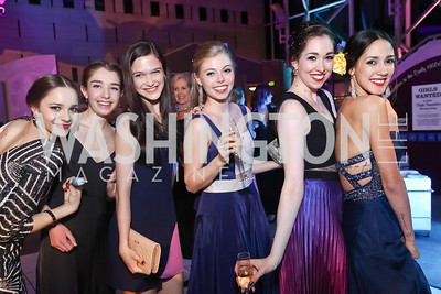 "Victoria Arrea, Stephanie Sorota, Adelaide Clauss, Kimberly Cilento, Olivia Lipnick, Francesca Dugarte. Photo by Tony Powell. 2017 Washington Ballet ""We Choose the Moon"" Gala. Air & Space Museum. May 12, 2017"