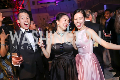 "Paul Kim, Ayano Kimura, Eun Won Lee. Photo by Tony Powell. 2017 Washington Ballet ""We Choose the Moon"" Gala. Air & Space Museum. May 12, 2017"