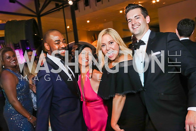 "Brandon Clay, Jennifer Axmacher, Andrea Rinaldi, Mark Axmacher. Photo by Tony Powell. 2017 Washington Ballet ""We Choose the Moon"" Gala. Air & Space Museum. May 12, 2017"