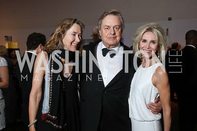 "Leslie and Andrew Cockburn, Mary Haft. Photo by Tony Powell. 2017 Washington Ballet ""We Choose the Moon"" Gala. Air & Space Museum. May 12, 2017"