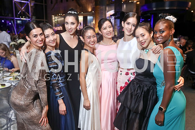 "Sona Kharatian, Maki Onuki, Kateryna Derechyna, Tamako Miyazaki,  Eunwon Lee, Brittany Stone, Ayano Kimura, Ashley Murphy. Photo by Tony Powell. 2017 Washington Ballet ""We Choose the Moon"" Gala. Air & Space Museum. May 12, 2017"