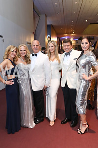 "Stacy Lubar, Jamie and Dave Dorros, Amy Donnelly, Bret and Amy Baier. Photo by Tony Powell. 2017 Washington Ballet ""We Choose the Moon"" Gala. Air & Space Museum. May 12, 2017"